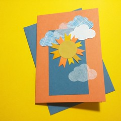 (swirlingthoughts) Tags: thejennuinearticle sun paperarts cardmaking handmadecard handmade 2016 img20160302132238 rays clouds yellow orange blue sunshine cheer courtscreen