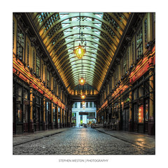 Leadenhall Market (Stephen Weston Photography) Tags: colour building brick london lamp architecture buildings photography photo arch fuji market pics outdoor stephen cobblestones fujifilm deserted hdr colouring weston x20 lightroom leadenhall 2014 stephenwestonphotography