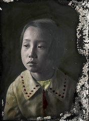 Hand colored glass negative of a Japanese girl (simpleinsomnia) Tags: old white black glass girl monochrome vintage found japanese blackwhite kid child hand little antique snapshot negative photograph colorized littlegirl vernacular colored handcolored tinted handtinted foundphotograph glassnegative