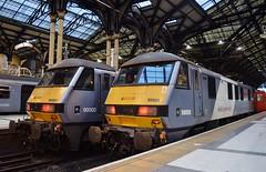 AGA Class 90s_Liverpool Street_121215_01 (DS 90008) Tags: uk london electric train traction railway loco locomotive britishrail brb aga rollingstock class90 geml 90008 90003 nxea