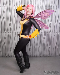x-men pixie 06 (CE Photogenetix) Tags: pink portrait woman silly halloween beautiful beauty metal female silver pose comics studio fun fly flying costume wings funny comic cosplay flight pixie fairy xmen hero superhero fairey marvel pinup catsuit select canon40d christinaedwards