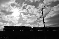 Freight train and clouds. (MAMF photography.) Tags: uk greatbritain england sky blackandwhite bw monochrome clouds train blackwhite google nikon flickr noir noiretblanc unitedkingdom britain negro north leeds railway gb upnorth pretoebranco schwarz westyorkshire freighttrain greatphoto googleimages northernengland enblancoynegro greatphotographers mamf inbiancoenero schwarzundweis nikond7100 mamfphotography