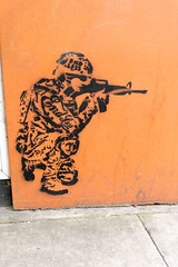 Stencil Soldier (NekoJoe) Tags: uk england orange streetart london geotagged graffiti unitedkingdom shoreditch endless gbr endlessstreetart stencilsoldier geo:lat=5152426184 endlessgraffiti geo:lon=008047163