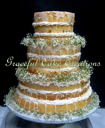 Rustic Naked Angel Food Wedding Cake With Babys Breath