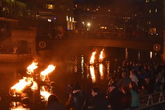 The crowd enjoying the fires