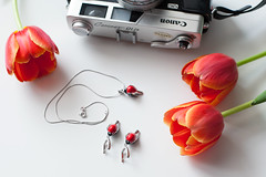 sokolov jewerly (polinaglebova) Tags: camera old flowers light red white beauty canon table necklace tulips retro jewerly instagram flatlay