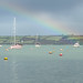 Boats, buoys and rainbow in Falmouth Habour