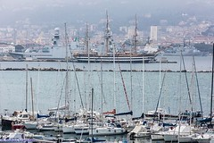 In the distance, one of the world's finest ships: Amerigo Vespucci (stefano.borghetto) Tags: sea italy beauty moments ships thebest laspezia wiew instants