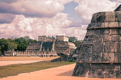Serpent ...eating people (danielacon15) Tags: travel history texture architecture clouds mexico ancient god threatening culture yucatan chichenitza mayanruins civilization serpent archeology kukulkan