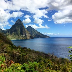 Pitons (Lonfunguy) Tags: clouds unesco caribbean stlucia bwi pitons saintlucia