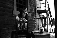 gun and whisky ([GP]) Tags: bw white black girl 50mm nikon cowboy gun western whisky cowgirl gp d600