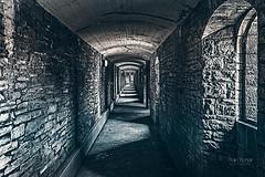 Between the shadows (Bajo Rogan) Tags: uk castle window stone wales army lights long shadows military masonry cardiff corridor tiles artillery british walls shelter bombs protection narrow