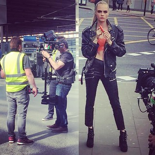 Lights Camera Action At St Pancras International station, London #CaraDelevingne #production #video #stedicam