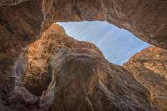 Things Are Looking Up (Jeffrey Sullivan) Tags: california travel november sky copyright usa jeff nature rock canon landscape photography nationalpark unitedstates canyon formation deathvalley sullivan slot narrow stovepipewells deathvalleynationalpark canyoneering 2011