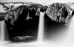 It Begins (TS446Photo) Tags: bw white snow black cold classic ice nature water weather contrast rural mono waterfall iceland amazing nikon rocks exposure natural bright rapids national shore cave nikkor d800 godafoss