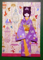 ATC1314 - Shopping for elegant bird cages (tengds) Tags: flowers brown green birds atc artisttradingcard asian japanese purple card geisha kimono obi origamipaper artcard papercraft birdcages japanesepaper washi ningyo handmadecard chiyogami asiandoll japanesepaperdoll origamidoll kimonodoll nailartsticker tengds origamiwashi