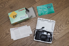 #CFS Canon Prima BF (1992) (Arne Kuilman) Tags: camera canon lens forsale sold flash 14 pointandshoot 1992 boxed complete madeinjapan cfs sb800 tekoop 35mmf45 cameraforsale canonprimabf originalmodel camerasthathavepassedthroughmylife canonbf