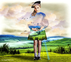 Cloudy day (rubyblossom.) Tags: girl birds clouds flying geese artist dress surreal skirt hills ladder rafal 2016 scenert olbinski rubyblossom digitalmania rubystreasures