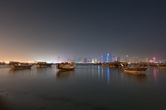 Dhows ( in explore ) (aliffc3) Tags: seascape colors boats lights dhows doha qatar lowlightphotography tamron2470f28 nikond750