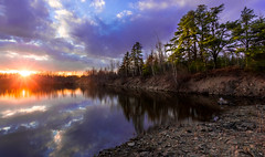 Spring is Springing (Alec_Hickman) Tags: trees sunset lake canada water reflections landscape evening colours dusk lakeside atlantic newbrunswick waterscape
