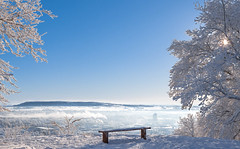 Scenic view over my hometown (mpakarlsson) Tags: city blue winter sky panorama sun white mist snow tree home fog canon bench lunch town frost view sweden hometown smoke scenic 70200 skaraborg falkping lleberg 5dmarkii 5dii 5dm2 5dmark2