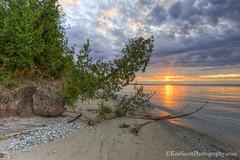 Lake Michigan ... 'erosionary' sunset (Ken Scott) Tags: november autumn trees sunset usa fall beach michigan fallcolors lakemichigan greatlakes erosion hdr freshwater voted leelanau pyramidpoint colortour 2015 45thparallel sbdnl sleepingbeardunenationallakeshore mostbeautifulplaceinamerica