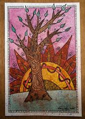 Purple Sunset 1 (purple_24) Tags: autumn sunset sun tree fall watercolor painting 4x6 zentangle zendoodle