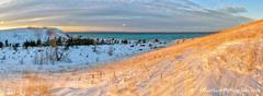 Sleeping Bear Point ... sunset glow (Ken Scott) Tags: winter sunset panorama usa snow michigan january blow lakemichigan greatlakes hdr freshwater voted leelanau 2016 45thparallel manitouislands sleepingbearpoint sbdnl sleepingbeardunenationallakeshore mostbeautifulplaceinamerica sunlitdunegrass