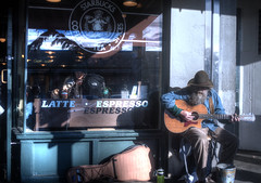 The First Starbucks (r.brownlow) Tags: seattle coffee starbucks busker pikeplace firststarbucks