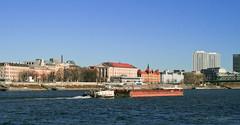 Dec 30: Freighter on Danube, Bratislava (johan.pipet) Tags: city bridge blue winter canon river landscape boat town europe flickr deep eu sunny slovensko slovakia palo zima bratislava danube freighter donau bartos mesto rieka lo dunaj barto