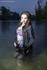 Mili escapes the rain into the lake (Wet and Messy Photography) Tags: lake wet water girl rain model mili wethair soaked wetlook wetclothes