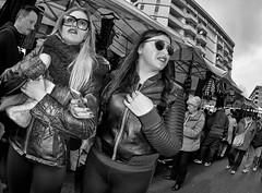 Girls on the hunt.........for a bargain. (Baz 120) Tags: life street city portrait people urban blackandwhite bw rome roma monochrome mono europe faces candid strangers streetphotography streetportrait olympus monotone streetphoto manual unposed streetfaces omd decisivemoment candidportrait candidphotography m43 streetcandid mft streetphotograph primelens em5 romestreets romepeople candidstreet zonefocusing candidface flashstreetphotography 75mmfisheye romecandid grittystreetphotography