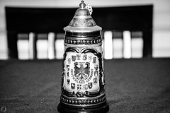 German Beer Stein (FitzJohnson) Tags: blackandwhite bw beer monochrome blackwhite monochromatic german mug stein germanbeerstein