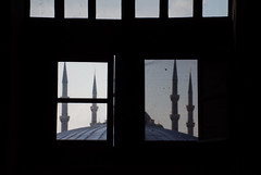 """""""View of the Blue Mosque through a window in Hagia Sophia"""" (porCography) Tags: trip blue winter light shadow sea vacation sky texture window architecture turkey dark view squares geometry mosque fabric minarets sultanahmet sultanahmetcamii"""