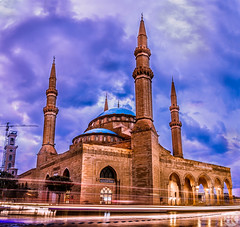 Al-Ameen mosque (Boodi Kadi Gallery) Tags: camera old sunset building tower architecture night photoshop evening warm long exposure outdoor traditional culture mosque most popular lightroom viewed boodikadigallery