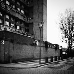 Poplar no.5 (jubalharshaw) Tags: street urban white black london 6x6 film architecture contrast rolleiflex square photography layout 1 design high poplar fuji estate social scan east architect stop f housing push medium format pan 1960s 1970s 50 herzog processed ilford frontier modernist brutalist deadpan 35f xenotar fotomaru
