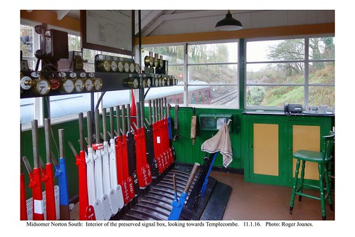 Midsomer Norton South signal box interior looking towards Templecombe. 11.1.16