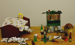 the morning after  33/366 (horsesqueezing) Tags: music toys bed drink vinyl booze clonetroopers ritzcrackers day33366 366the2016edition 3662016 2feb16