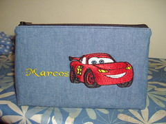 Disney cars pencil case (delsdesignz) Tags: cars pencil handmade machine disney case zipper embroidered