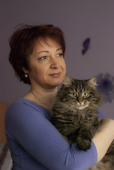 Portrait (bXtrll) Tags: portrait woman love face cat purple kitty naturallight