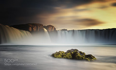 Goafoss Sunset (Waubble) Tags: travel sky water rock stone clouds waterfall iceland rocks europe 500px ifttt