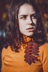 Arina (truewonder) Tags: street autumn portrait urban orange girl face fashion stairs russia outdoor young sunny fave vogue drama ekaterinburg leafs