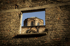 Historical Window (vuralyavas) Tags: blue light sunset sky sun building history window lines wall architecture istanbul mosque architectural line historicalcenter