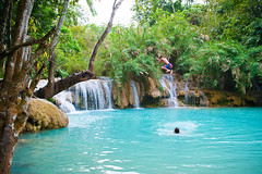 The Most 10 Beautiful And Popular Places For Tourism In Laos (MyEarthMom) Tags: blue vacation people holiday tourism water horizontal river fun person freedom photo waterfall jump jumping scenery energy asia action scenic tourists adventure flowing swinging activity laos excitement backpacker leaping luangprabang active rm travelphotography westerners energetic louangphrabang rightsmanaged loungphrabang kuangsiwaterfalls stocktravelphotos