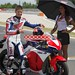 Honda demonstrate new RC213V-S motorbike with Casey Stoner at Barcelona
