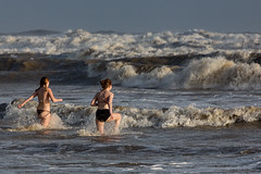 Brave (mdcaptures) Tags: girls sea wild english beach water swim surf waves south paddle british rough bathing sands brae dip camber wearther