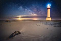 She's back (modesrodriguez) Tags: longexposure lighthouse beach lines rio river landscape faro sand nightscape playa arena ebro highiso milkyway deltadelebro