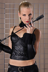 Sandy 22 (The Booted Cat) Tags: woman sexy girl leather model pants crop blonde whip mistress corsage leggins thigt