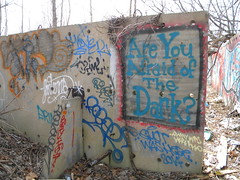 Who's afraid of the dark (Randall 667) Tags: street urban art abandoned sign dark island graffiti was artwork artist hiv you exploring hiver hiya dump here writer sheet lantern afraid rhode cumberland whos lant ohmy tagger smot are