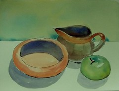 Green apple and friends (BonnieBuchananKingry) Tags: ink watercolor paintings bowl pitcher creamer applefruit